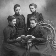 Four Elkhart Institute Ladies with Book, undated